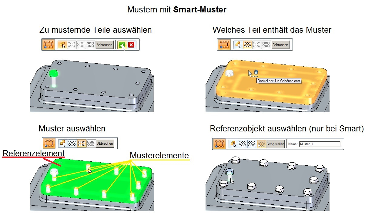 Solid Edge Mustern in der Baugruppe Smart